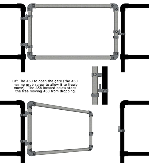 Alvin key clamp self closing gates for systems
